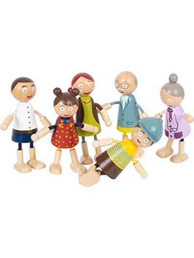 Small foot Biegepuppen Familie aus Holz 6er Set